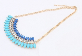 "Statement Ketting ""Blue & Turquoise Crescent"""