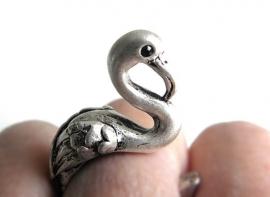 """Ring """"Flamingo"""" Zilverkleurig"""