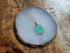 """Alice In Wonderland Ketting """"Turquoise Time Coin"""""""