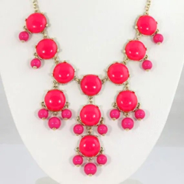 "Statement Ketting ""Big Bubbles"" Hot Pink"