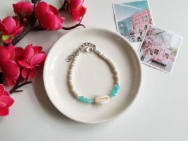 "Schelp Armband ""Turquoise Blue & White"""