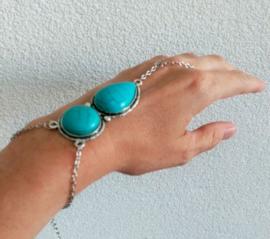 """Hand Sieraad """"Turquoise Stones"""""""