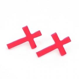 """Kruis Oorbellen """"Pink Cross"""""""