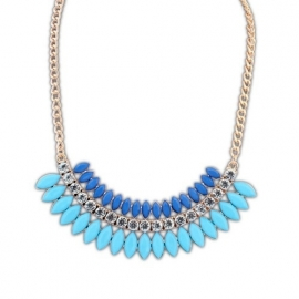 """Statement Ketting """"Blue & Turquoise Crescent"""""""