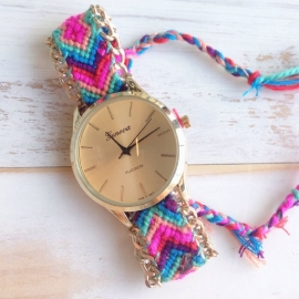 """Horloge """"Festival"""" Roze / Turqoise"""