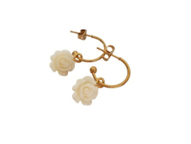 "Bloem Oorbellen ""Cream Rose Hoops"" Stainless Steel - Goud"