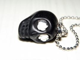 """Ketting """"Flower Eyed Skull"""" Zwart"""