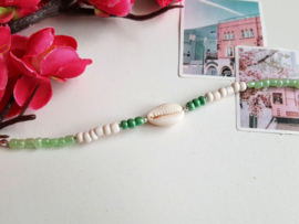 "Schelp Armband ""Green & White"""