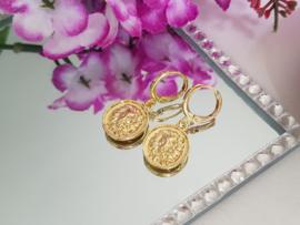"""Leeuw Oorbellen """"Golden Lion Coin"""""""