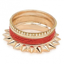"Armbanden  ""Exaggerated Chunky Spikes"" Red"