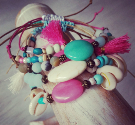 "Festival / Beach Armband met Natuursteen ""Natural"""