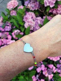 """Armband Met Kaartje """"Colourful Heart"""" Zilver - Stainless Steel - Keuze Uit 10 Kaartjes"""
