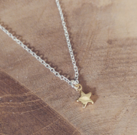 "Subtiele Ketting ""Gold Plated Star"" Silver Plated"