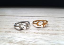 "Maan Ring ""Moon & Star"" Stainless Steel"