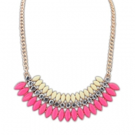 "Statement Ketting ""Cream & Pink Crescent"""
