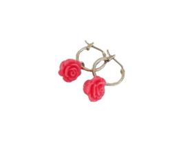 """Bloem Oorbellen """"Pink Rose Hoops"""" Roze / Zilverkleur"""