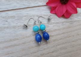 """Oorbellen """"Blue Beads"""""""