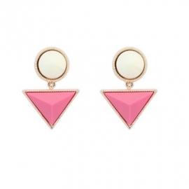 """Oorbellen """"Pink & Ivory Triangle"""""""