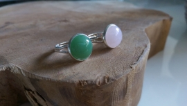 "Natuursteen Ring ""Semi-Precious Stone"" Silver Plated"