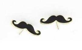 """Snor Oorbellen """"Mr. Mustache"""" Zwart"""