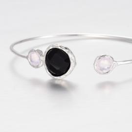 "Armband ""Silver Plated Stone Bangle"" Black"