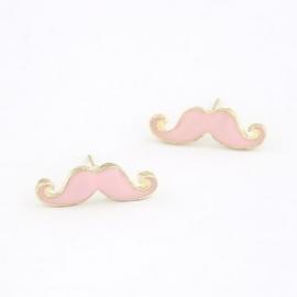 """Snor Oorbellen """"Mr. Mustache"""" Lichtroze"""