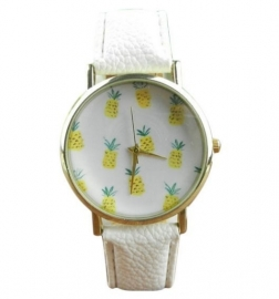 "Ananas Horloge ""Pineapple"" Wit"