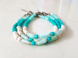 "Schelp Armband ""Shells & Beads"" Turquoise"