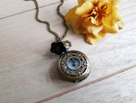 "Ketting Met Zakhorloge ""Black Flower"" Small"