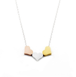 "Hartjes Ketting ""Tricolore Hearts"" Stainless Steel"