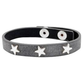 "Lederlook Armband ""Silver Star"" Donkergrijs"