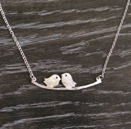 """Ketting """"Cute Lovebirds"""" Silver Plated"""