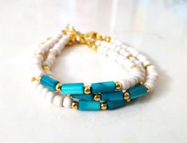 """Schelp Armband """"Shells & Beads"""" Teal Blauw"""