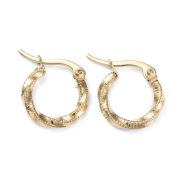 "Kleine Oorringen ""Twisted And Textured Hoops"" Stainless Steel"