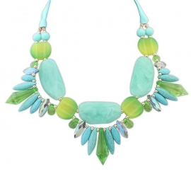 "Statement Ketting ""Turquoise & Green Stones"""