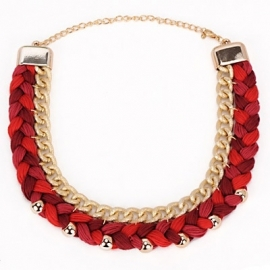 "Statement Ketting ""Red Braids"""