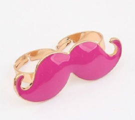 "Snor Ring ""Double Pink Mustache"""