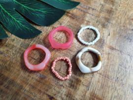 """Ringen Set """"Coral & Cream"""" 5 stuks"""
