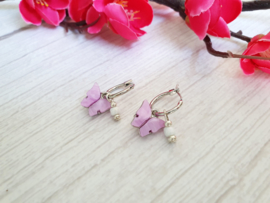 """Vlinder Oorbellen """"Sweet Lilac Butterfly"""" Zilverkleur"""
