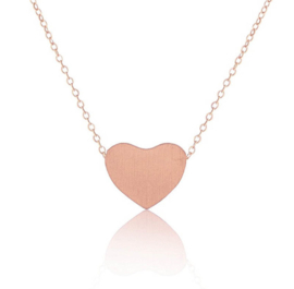 "Ketting Met Hartje ""Tiny Heart"" Silver Plated, Gold Plated of Rose Gold Plated"