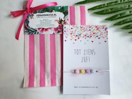 "Juf Cadeautje ""Candy Colored Love"" Keuze uit 2 kaartjes"