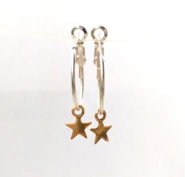 """Verzilverde Ster Oorbellen """"Star Hoop"""" 2cm of 3cm"""