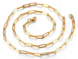 """Paperclip Schakel Ketting """"Paperclip Chain"""" Stainless Steel"""