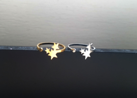 """Ster Ring """"Three Stars"""" Stainless Steel"""