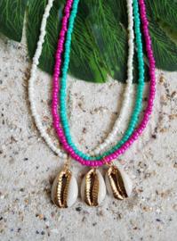 """Schelp Ketting """"Colorful Seashell"""" Keuze uit 3 kleuren"""
