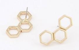 """Oorbellen """"Hexagon"""" Goud"""