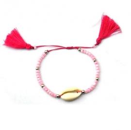 "Armband ""Tassels & Seashell"" Lichtroze"
