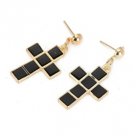 "Kruis Oorbellen ""Black Tiled Cross"""