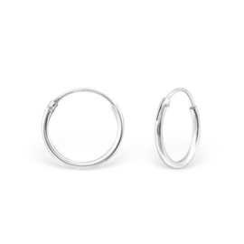 "Oorbellen ""Small Round Hoop"" 925 Sterling Zilver 8mm of 12mm"