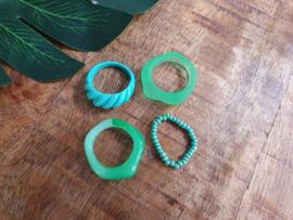 """Ringen Set """"All Green"""" 4 Stuks"""